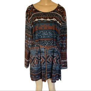 Aztec Arizona Boho Western Midi LS Tunic Dress XL
